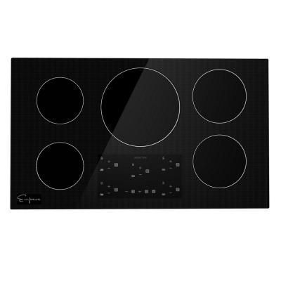 Empava 36 In Electric Stove Induction Cooktop In Black 5 Elements Booster Burners Smooth Surface Tempered Glass Blac Induction Cooktop Electric Stove Cooktop
