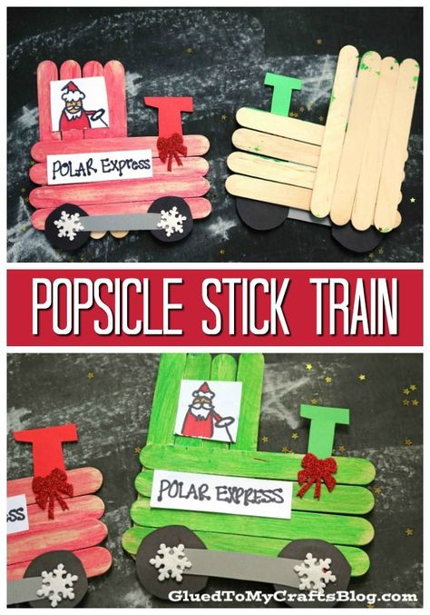 Popsicle Stick Christmas Trains - Kid Craft All abroad as we craft up some custom Popsicle Stick Christmas Trains today! Let's make those crafty holiday dreams come true for all those kids out there! Train Crafts Preschool, Bible School Crafts, Train Activities, Vbs Crafts, Toddler Crafts, Popsicle Stick Crafts For Kids, Craft Stick Crafts, Popsicle Sticks, Craft Ideas