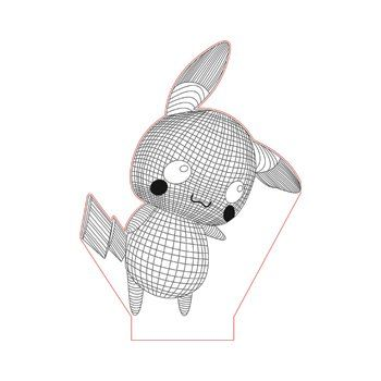 Pokemon Pikachu 3d Illusion Lamp Plan Vector File Op For Laser And Cnc 3bee Studio 3d Illusions 3d Illusion Lamp Illusions