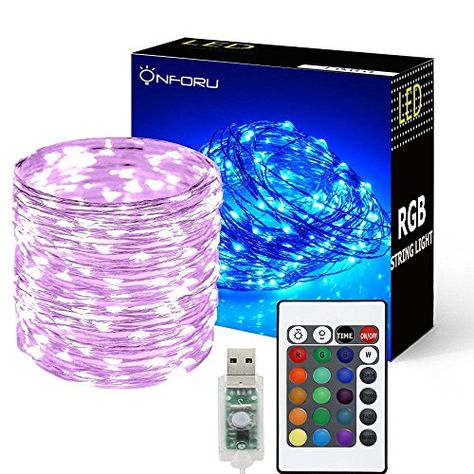Onforu 33ft Rgb Fairy Lights 16 Colors Changing Outdoor String
