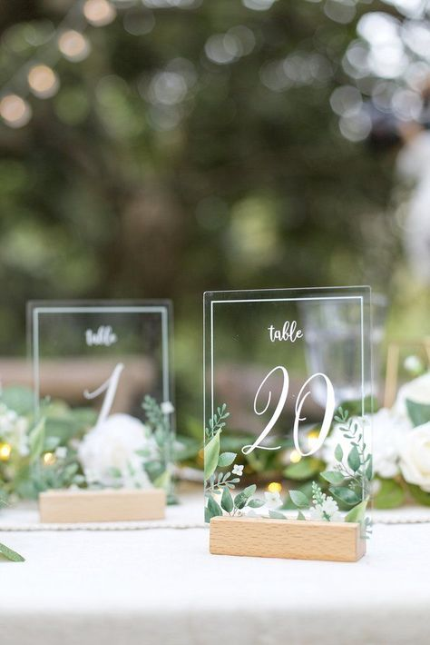 Clear Acrylic Table Cards for Wedding Invitations Greenery Style Wedding Table Centerpieces, Centerpiece Ideas, Centerpiece Flowers, Round Table Decor Wedding, Table Numbers For Wedding, Simple Wedding Decorations, September Wedding Centerpieces, Sweet Heart Table Wedding, Inexpensive Wedding Centerpieces