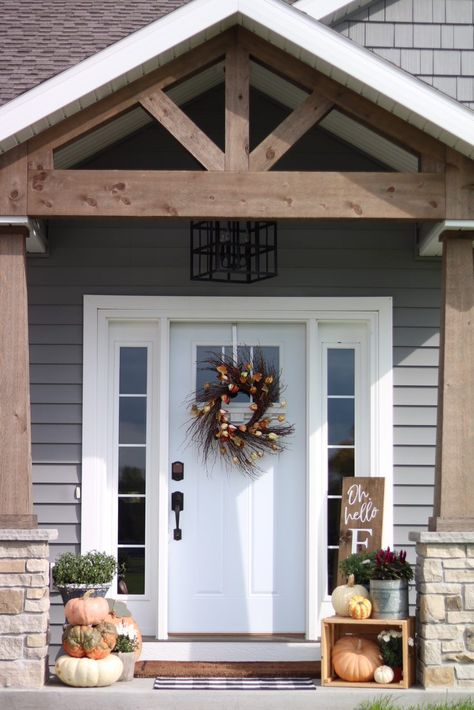 Our Fall Front Porch Fall Front Porch - Stained Wood Gable and Pillars - Craftsman Porch - Farmhouse Exterior - Fall Porch Decor - Small Front Porch Design Porch Remodel, Small Front Porches Designs, Front Porch Decorating, Farmhouse Front Porches, Farmhouse Fall Decor, Fall Decorations Porch, Building A Porch, Porch Decorating, Porch Design