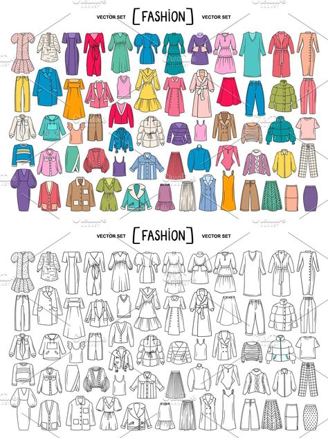 Vector set with women's clothing