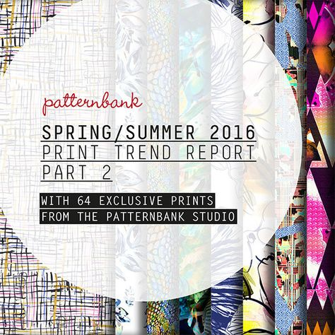 Part 2 of our indispensable print trend report for Spring/Summer 2016 comes with 64 hand-picked exclusive hi-res stock print designs from the Patternbank Studio. Each design is chosen to fit perfectly with one of our 8 strong directional print trend stories.The PDF contains eight print trends that have been divided into mood boards, print direction pages and colour palette-inspiration pages, complete with TCX Pantone references. Our ...