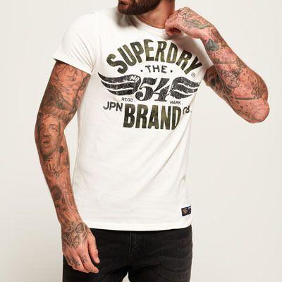 SUPERDRY Mens Crew Neck Long Sleeve Graphic Designer Vintage New T-Shirt Tee Top