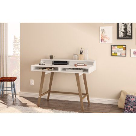 Polifurniture Hanover Writing Desk White And Light Brown Walmart Com Modern Home Office Desk Home Office Furniture Home Office Design