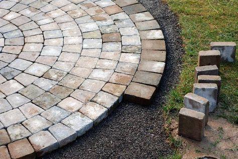 Natursteinpflaster Im Kreis Verlegen Steinterrassen Ziegelsteine Terassenentwurf