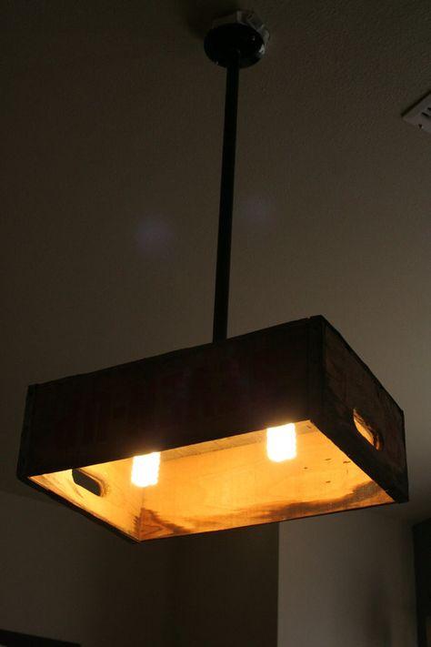 DIY Crate Hanging Light