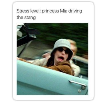 Stress Level: Mia driving the stang Sticker