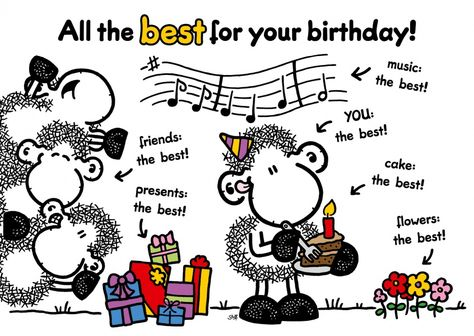 All the best for your birthday | sheepworld | Send real postcards online | sheepworld