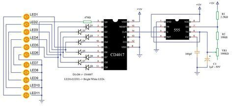 Led Knight Rider Circuit Led Running Light Led Chaser Circuit Two Way Running Led Electrical Circuit Diagram Circuit Circuit Diagram