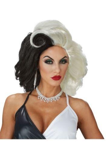 Cruella Deville Black White Dog Lovin/' Diva Wig Hair Halloween Costume Accessory