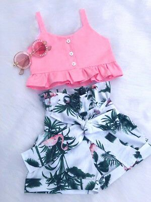 US Fashion Toddler Kids Baby Girls Clothes Top Vest Floral Shorts Summer Outfit