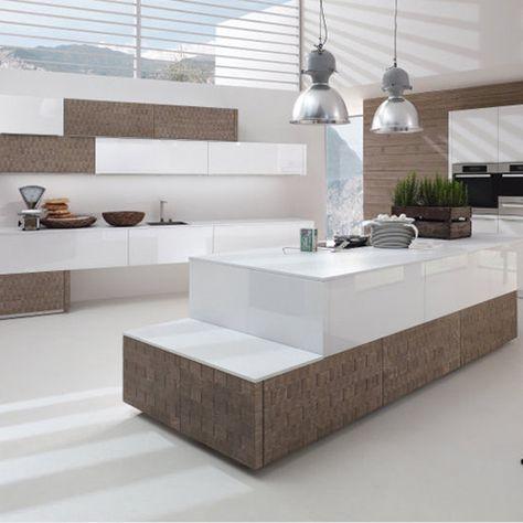 moderne küche design kochinsel hochglanz farbe goldene nuance - moderne kuchen forster