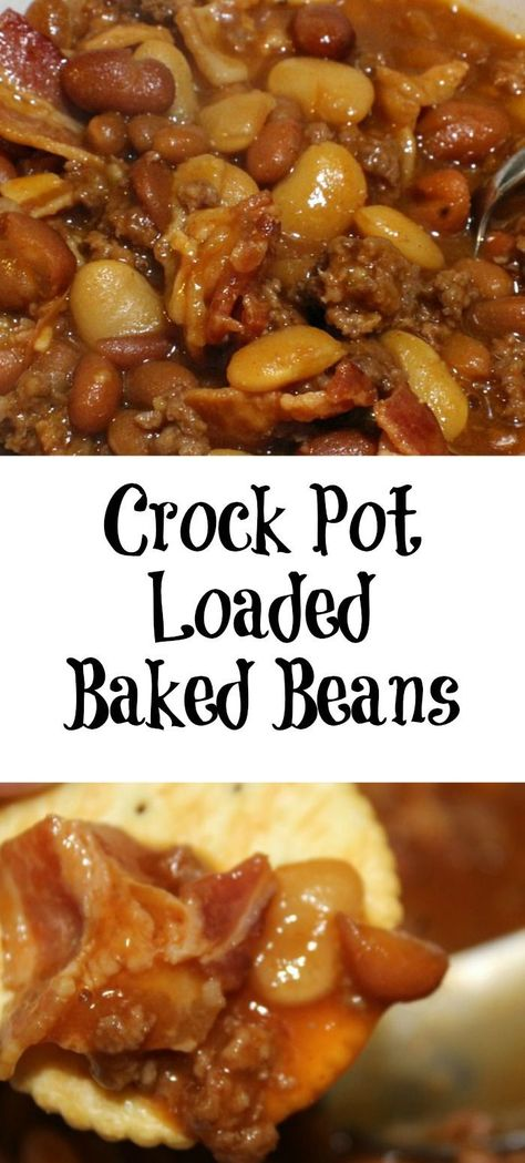 Crock Pot Loaded Baked Beans are perfect for any time of year. Just drop everything in the crock pot stir, perfect for picnics, tailgating, and potlucks. #bakedbeans #crockpot #BushsBeansFallFlavors