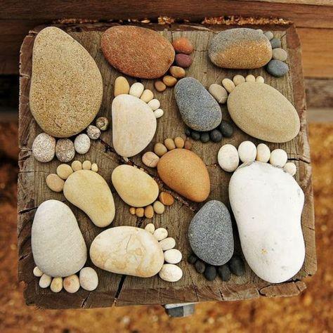 gartendeko mit unterschiedlichen größen von steinen