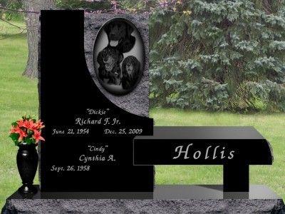 Shetler Memorials Hollis Contemporary Bench With Polished Vase Tombstone Designs Cemetery Headstones Memorial Stones