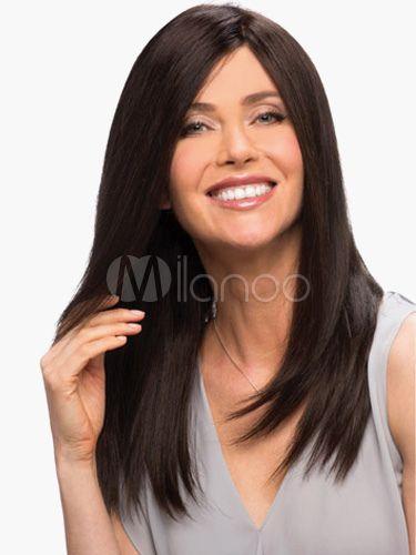 Perruque Moyenne Noire Brunatre Ebouriffee En Fibre Droite Perruque Produits Capillaires Style De Cheveux
