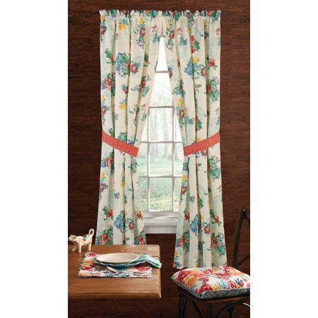 The Pioneer Woman Country Garden Window Curtain Panel 40 W X 84 L Set Of 2 Multiple Sizes Walmart Com Pioneer Woman Kitchen Panel Curtains Garden Windows