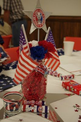 eagle scout centerpiece decorations | should have used different containers for his center pieces, because ...