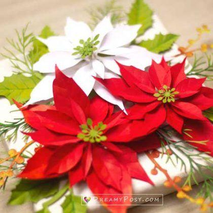 Cameo Paper flower template svg pdf dxf cut files Christmas flower Christmas Cricut Commercial License Poinsettia svg poinsettia svg