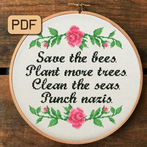 Cross Stitching, Cross Stitch Embroidery, Naughty Cross Stitch, Funny Embroidery, Embroidery Patterns, Cross Stitch Quotes, Cross Stitch Freebies, Punch, Save The Bees