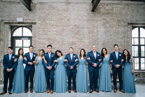 The Great Debate: Mismatched Bridesmaid Dresses vs. One Style - Slate Blue Bridesmaid Dresses from Kennedy Blue -