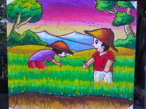 Contoh Mewarnai Gambar Pemandangan Gambar Mewarnai Painting For