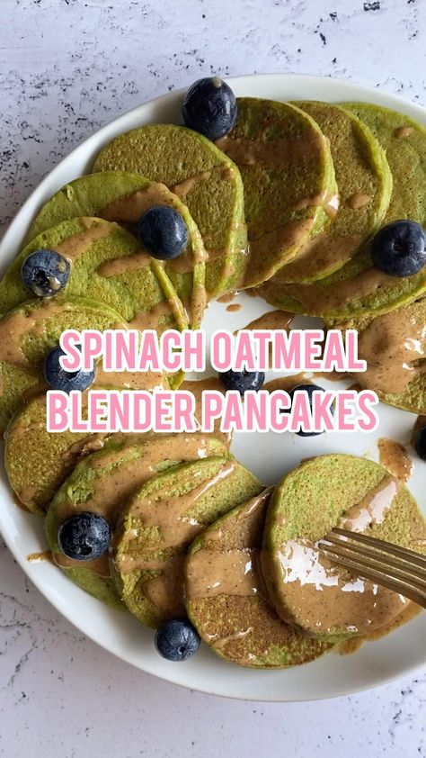 Spinach Oatmeal Blender Pancakes