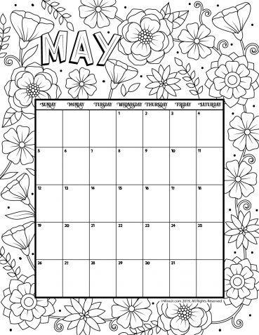 May 2019 Coloring Calendar Kids Calendar Calendar 2019