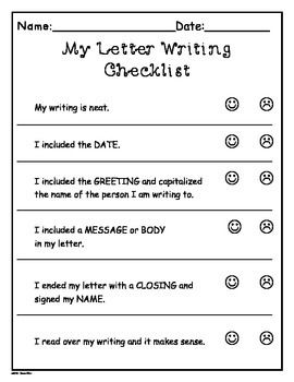 Writers Work Letter Writing Templates More Grade 1 2 Tpt Language Arts Lessons Template Checklist Friendly
