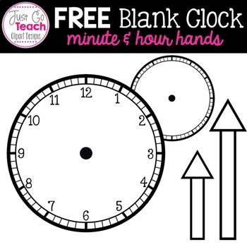 Free Blank Clock With Minute And Hour Hands Clipart Hand