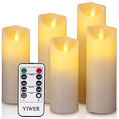 Yiwer Led Candles 5 5 Quot 6 Quot 6 5 Quot 7 Quot 8 Quot Set Of 5 Real Wax Battery Flameless Candles Includ Flameless Candles Flameless Candle Set Candles