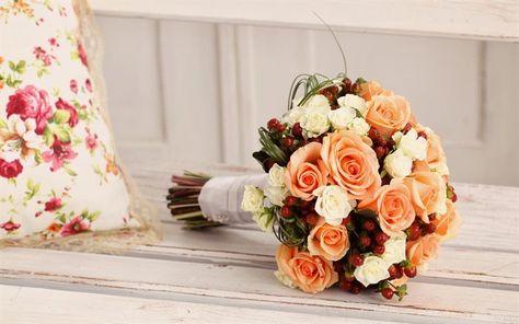 Bouquet Sposa Arancione.Scarica Sfondi Rose Bouquet Da Sposa Arancione Bouquet