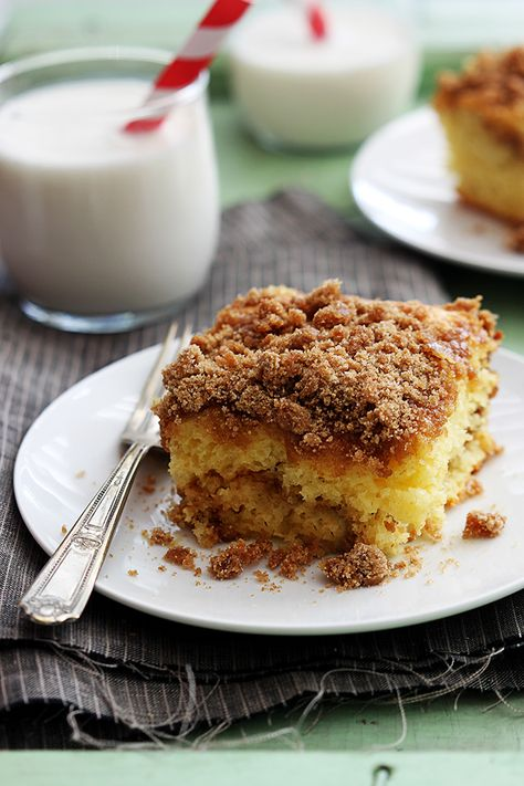 Sour cream coffee cake.      1 package yellow cake mix (mix only, not prepared)     1 egg     1 cup sour cream (may sub plain greek yogurt)     ¼ cup butter, melted     1 teaspoon vanilla  crumble topping      1¼ cups flour     ⅔ cup brown sugar     ½ cup sugar     ½ teaspoon salt     1 teaspoon cinnamon     ½ cup butter (8 tablespoons), chilled and cut into cubes
