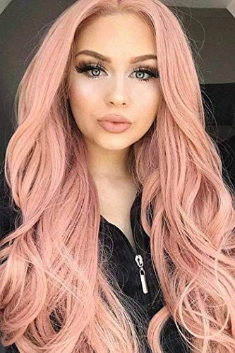 New Vrz Lace Front Wigs Synthetic Hair Orange Pink Middle Part Free Style Long Wavy Heat Resistant Daily Party Wig For In 2020 Long Hair Styles Wig Hairstyles Pink Wig