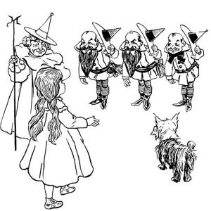 The Wizard Of Oz Dorothy Meet Good Witch North And Munchkins In Coloring Page An