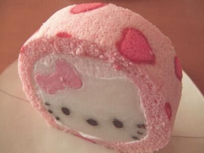 Hello kitty ice roll cake so cute! Hello Kitty Cake, Hello Kitty Items, Japanese Snacks, Japanese Sweets, Japanese Food, Pastel Cupcakes, Ladybug Cupcakes, Kitty Cupcakes, Snowman Cupcakes