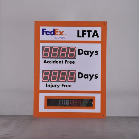 Fedex Delivery Days >> Scrolling Message Electronic Safety Scoreboard With Two