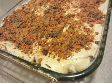 Easy Butterfinger Dessert - takes only minutes to throw together, you won't believe it's a Weight Watchers friendly dish.