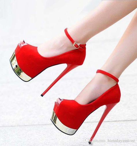 f3891f0c7631 Sexy Red Bottom Ultra High Heels Synthetic Suede Ankle Strap Super Platform  Pumps Prom Night Club