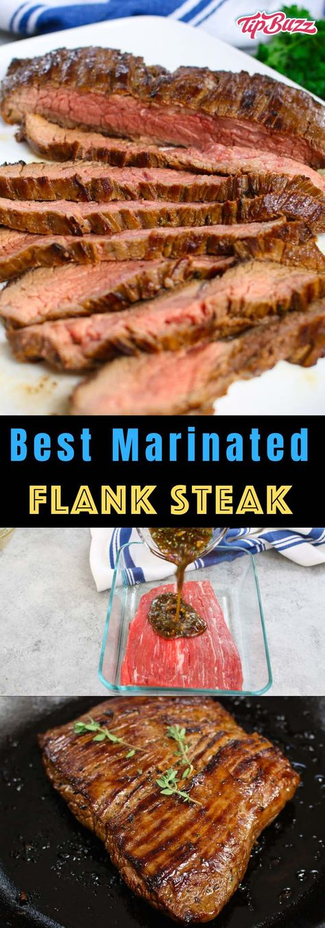Best Flank Steak Marinade {So Flavorful and Super Easy} - TipBuzz - Easy Recipes. - Best Flank Steak Marinade {So Flavorful and Super Easy} – TipBuzz – Easy Recipes - Steak Marinade Recipes, Meat Marinade, Flank Steak Recipes, Meat Recipes, Cooking Recipes, Simple Steak Marinade, Marinade For Steak Fajitas, Recipes Dinner, Game Recipes
