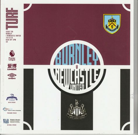 Burnley 1 Newcastle 0 in Dec 2019 at Turf Moor. The programme cover #Prem