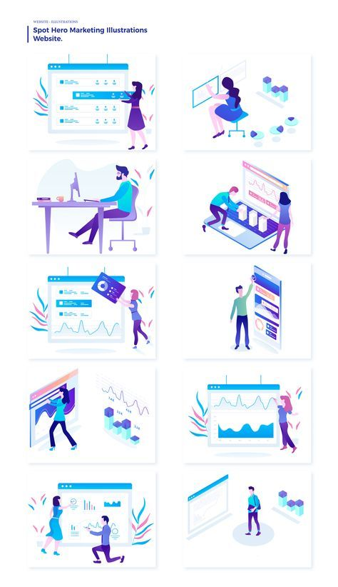 Marketing Courses Illustrations Illustrations On Ui8 Web Layout Design Flat Design Illustration Graphic Design Trends