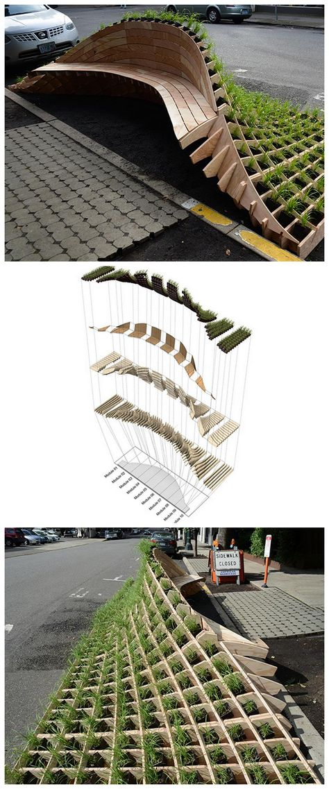 Landschaftsarchitektur Amazing Timber Cladding Ideas to Spike up Your Building Design Urban Furniture, Street Furniture, Architecture Paramétrique, Tactical Urbanism, Espace Design, Timber Cladding, Cladding Ideas, Cladding Design, Parametric Design