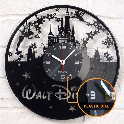 Disney Vinyl Clock Record Wall Clock Disney Castle Clock Art Wall Decor Cartoon