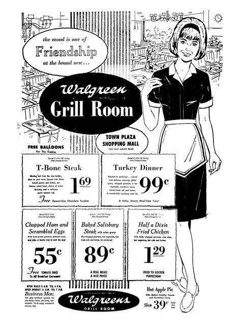 Walgreens Grill Room April 1969 Vintage Menu Vintage Restaurant Vintage Advertisements