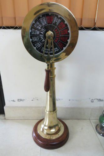 "NAUTICALMART 24/"" Brass Ship Engine Telegraph Collectibles with Wooden Base"