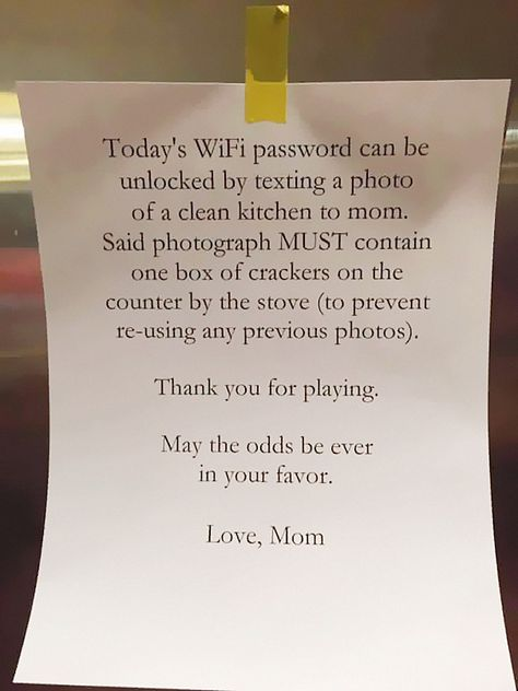 Getting your kids to do their chores is a major chore in itself, but this mom made it look easy. All she had to do was withhold the Wi Fi password…