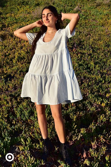 Embrace the ease of a floaty, tiered babydoll dress for spring.